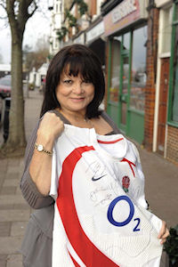 Francoise with O2 Rugby Shirt